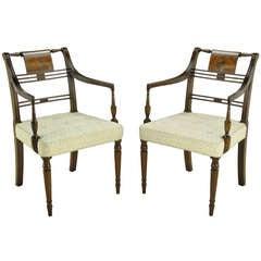 Pair Kittinger Mahogany & Burled Walnut Regency Arm Chairs