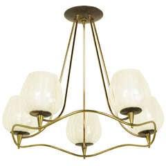 Lightolier 1950s Five-Light Brass Chandelier