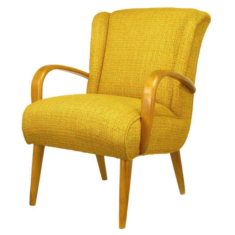 Maple Wood and Saffron Upholstered Lounge Chair, circa 1940s 1