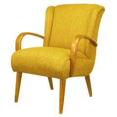 Lounge-Sessel aus Ahornholz und Safrangelber Polsterung, circa 1940er