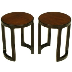 Rare Edward Wormley Round Rosewood & Mahogany End Tables