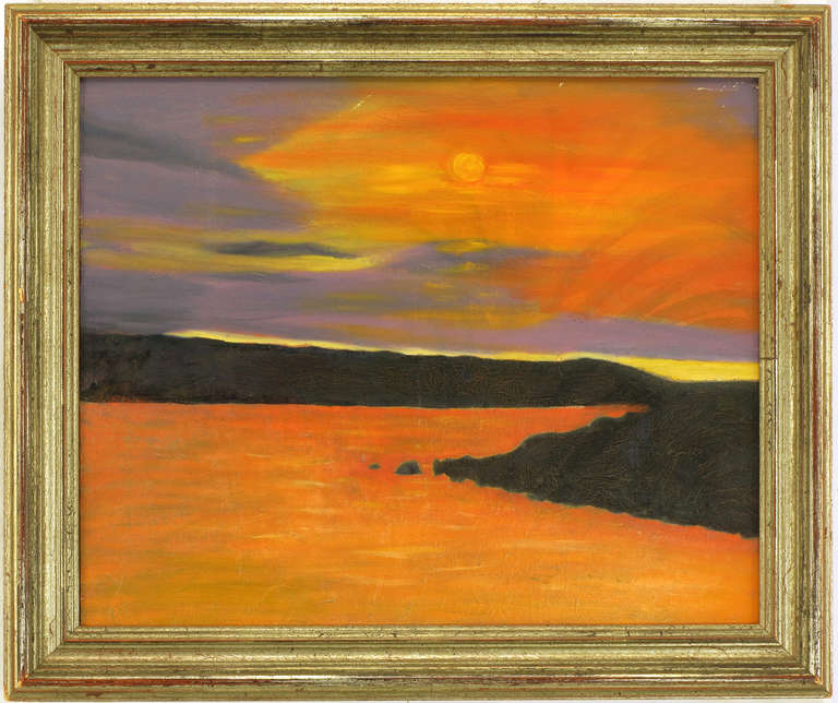 Sunset on the shore impasto oil painting with by F. Benson. Appears to be an older work as the black and orange oils have intricate checking patterns. Framed in an aged Italian gilt wood beveled surround. Framed art measures, 24.25