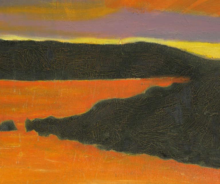 Unknown Vibrant Orange, Lavender and Black Impasto Oil On Canvas Signed F. Benson For Sale
