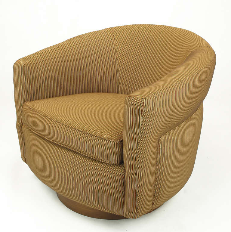 Of milo baughman attributed barrel back swivel lounge chairs image 4