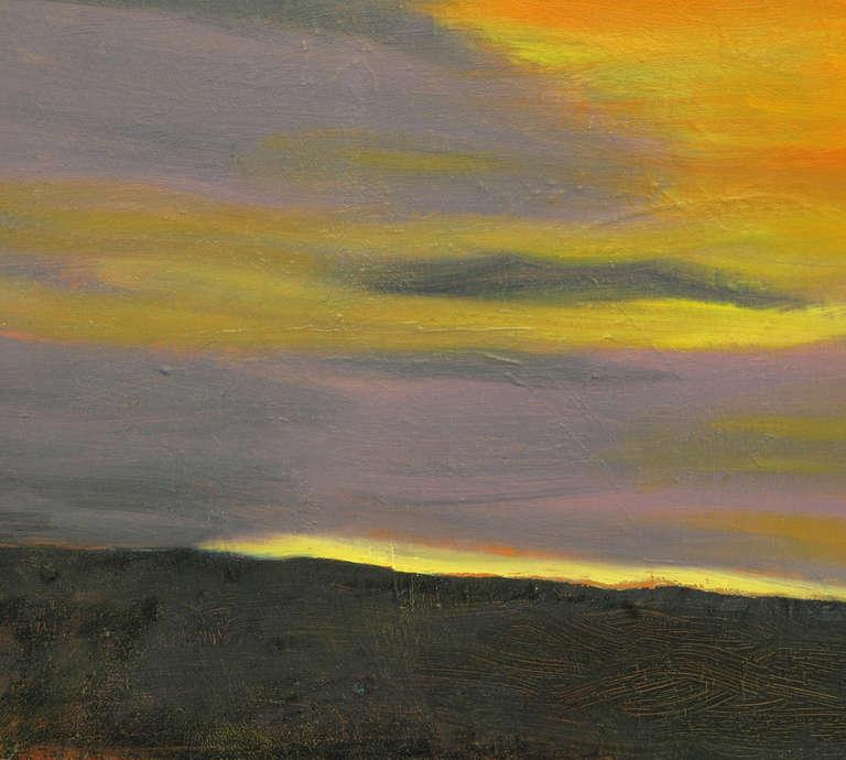 Vibrant Orange, Lavender and Black Impasto Oil On Canvas Signed F. Benson In Good Condition For Sale In Chicago, IL