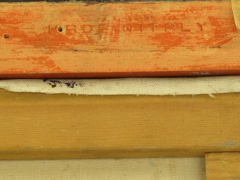 Vibrant Orange, Lavender and Black Impasto Oil On Canvas Signed F. Benson For Sale 1