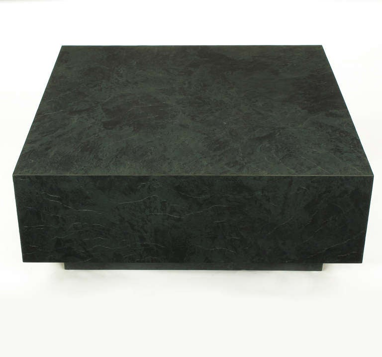 Floating Square Coffee Table in Green and Black Slatelike Material In Excellent Condition For Sale In Chicago, IL