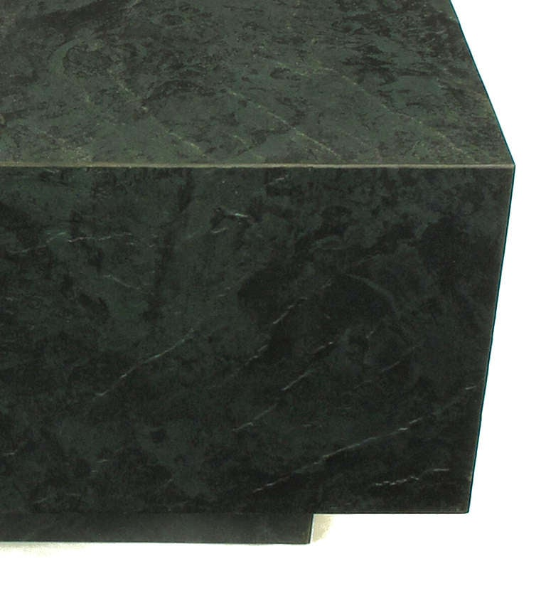 Floating Square Coffee Table in Green and Black Slatelike Material For Sale 2