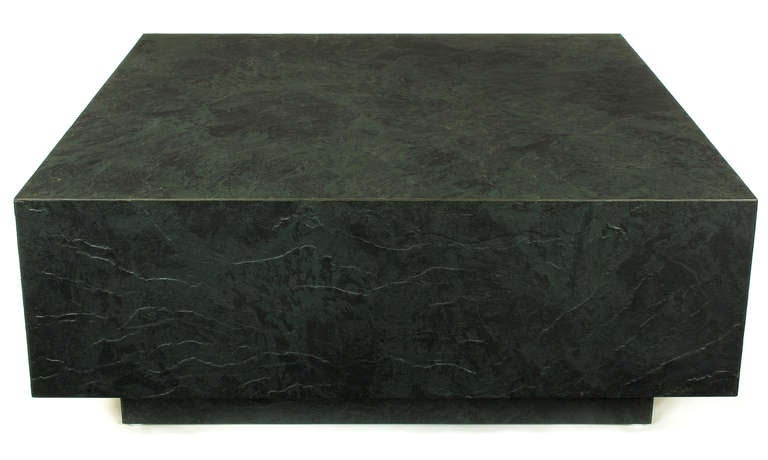 20th Century Floating Square Coffee Table in Green and Black Slatelike Material For Sale