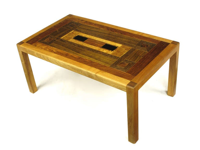 Exotic Wood Parquetry Studio Coffee Table In Excellent Condition For Sale In Chicago, IL