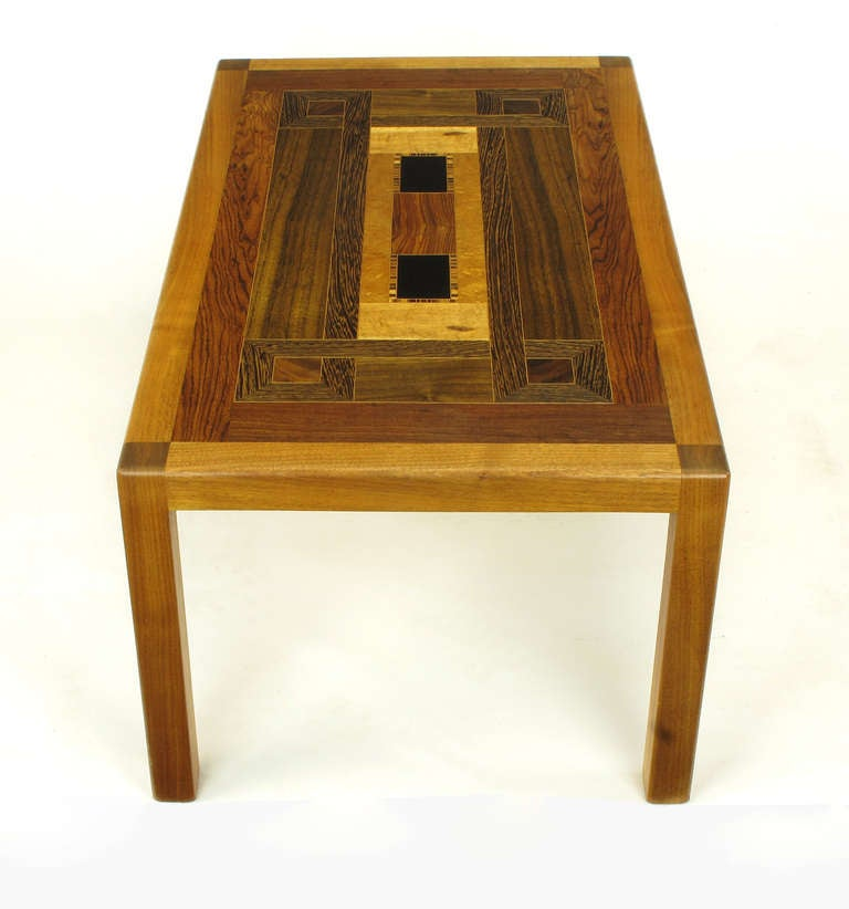 20th Century Exotic Wood Parquetry Studio Coffee Table For Sale