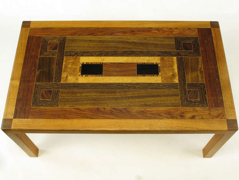 Walnut Exotic Wood Parquetry Studio Coffee Table For Sale