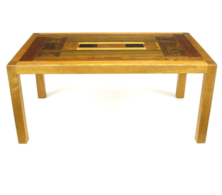 American Exotic Wood Parquetry Studio Coffee Table For Sale