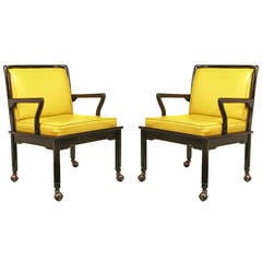 Pair of Widdicomb Ebonized Wood and Saffron Upholstered Lounge Chairs