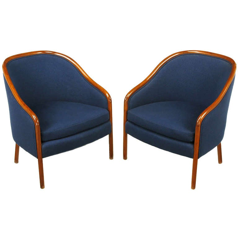 Pair of Ward Bennett Walnut and Wool Lounge Chairs