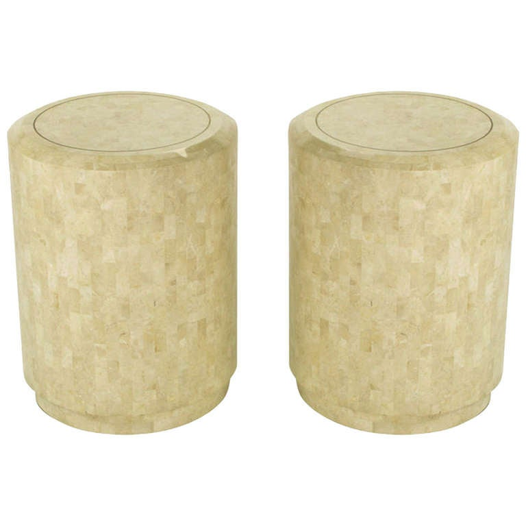 Lovely Pair Of Tessellated Fossil Stone Side Tables By Maitland Smith 1