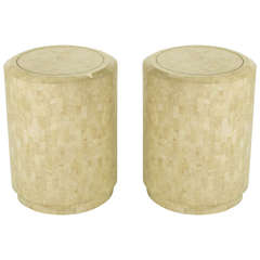 Pair of Tessellated Fossil Stone Side Tables by Maitland Smith