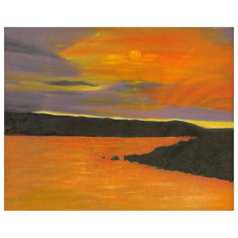 Vibrant Orange, Lavender and Black Impasto Oil On Canvas Signed F. Benson For Sale