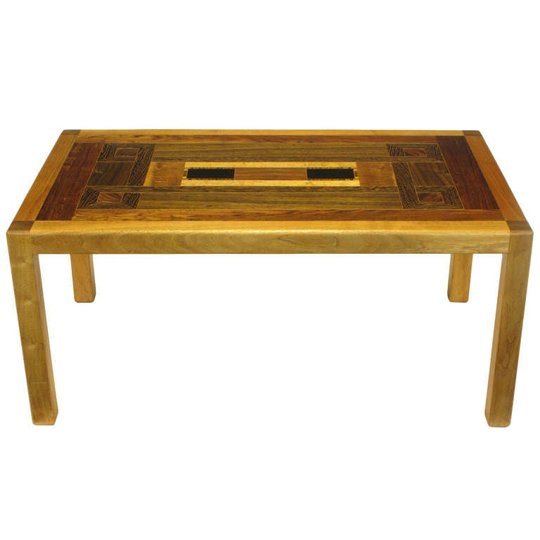 Exotic Wood Parquetry Studio Coffee Table For Sale