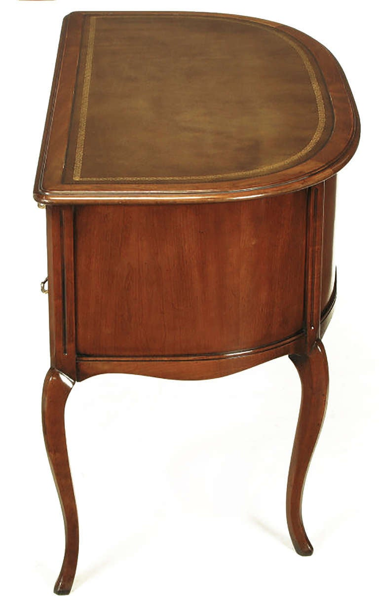 Mid-20th Century Sligh Walnut Curved Front Desk with Leather Top For Sale