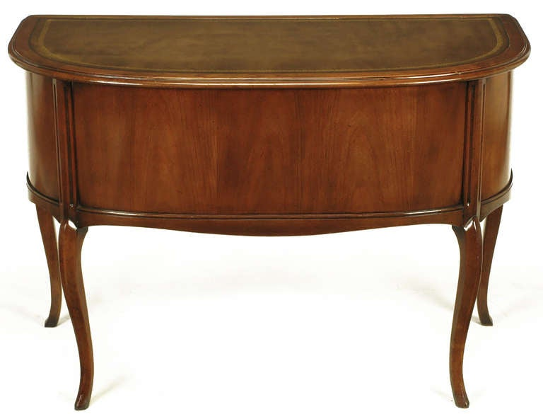 Sligh Walnut Curved Front Desk with Leather Top 6