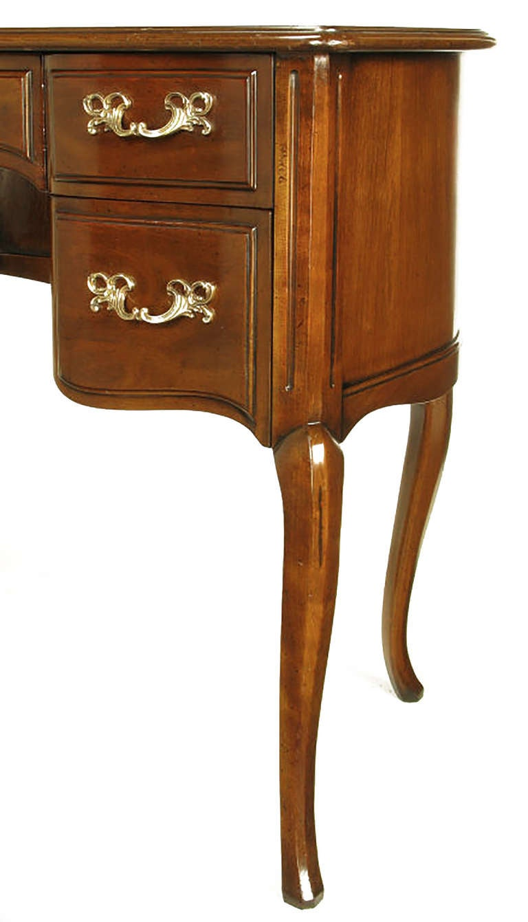 Sligh Walnut Curved Front Desk With Leather Top For Sale