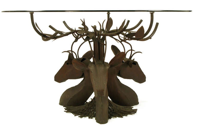 Studio Steel Sculpture Deer Trio Dining Table In Excellent Condition For Sale In Chicago, IL