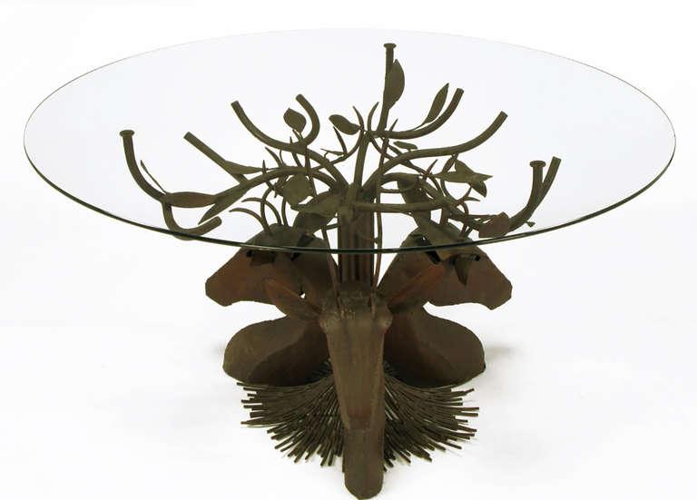 American Studio Steel Sculpture Deer Trio Dining Table For Sale