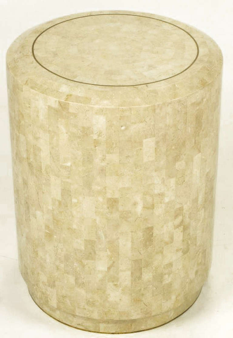 Pair Of Tessellated Fossil Stone Side Tables By Maitland