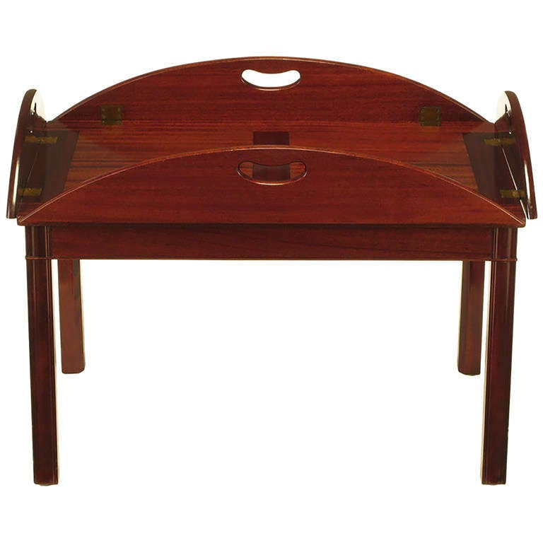 Nathan Margolis Shop Ribbon Mahogany Butler's Tray Table