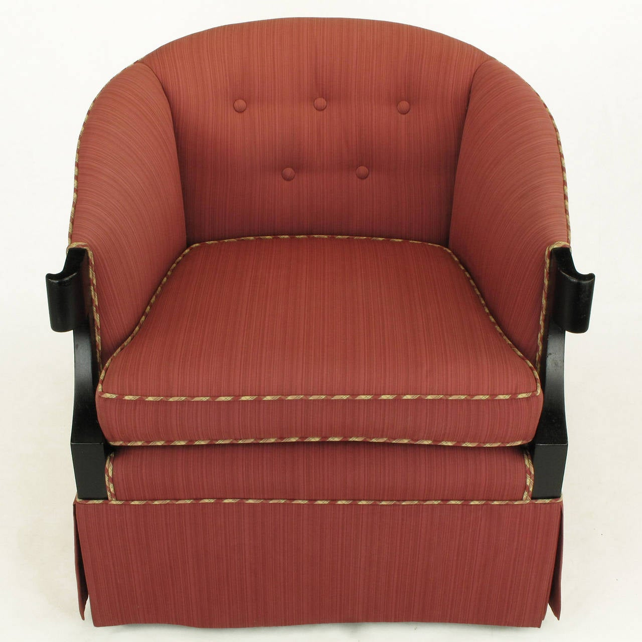 Pair of barrel back club chairs designed by Winsor White and William Millington for Baker's 1954 continental collection. Older reupholster in magenta silk striped with tan and magenta plaid welt in good condition with sun fade to a third of the