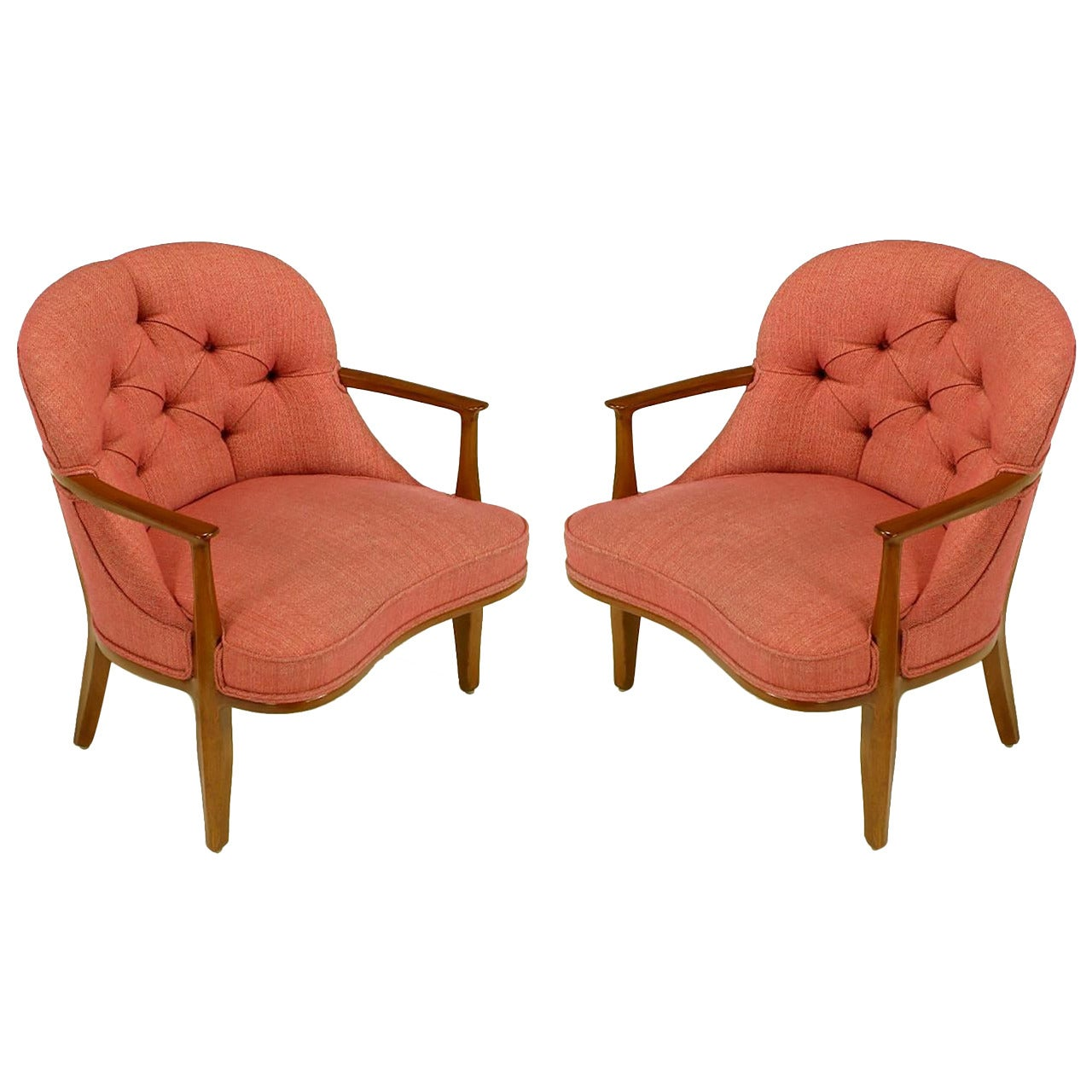 Pair of Edward Wormley Janus Collection Lounge Chairs by Dunbar
