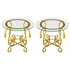 Pair of Italian Gilt Iron Rope Tables with Tassel Ornamentation