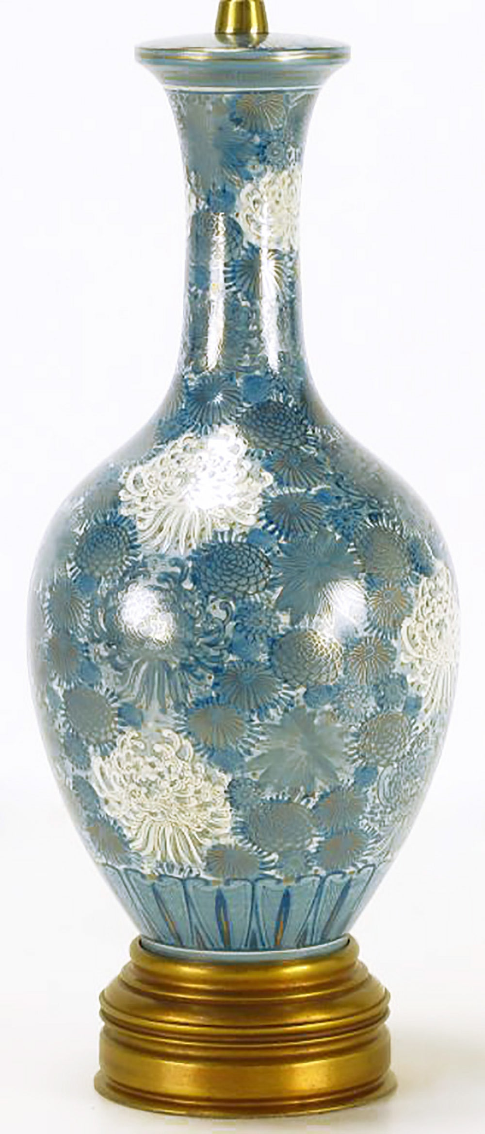 American Marbro Hand-Painted Blue and White Chrysanthemum Table Lamp For Sale