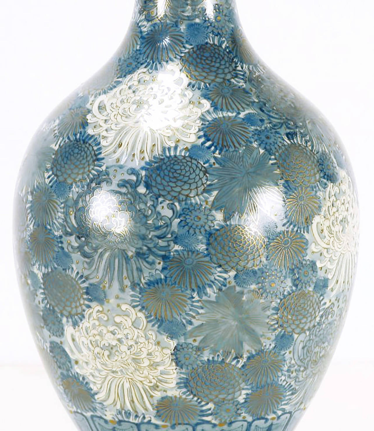 Gilt Marbro Hand-Painted Blue and White Chrysanthemum Table Lamp For Sale