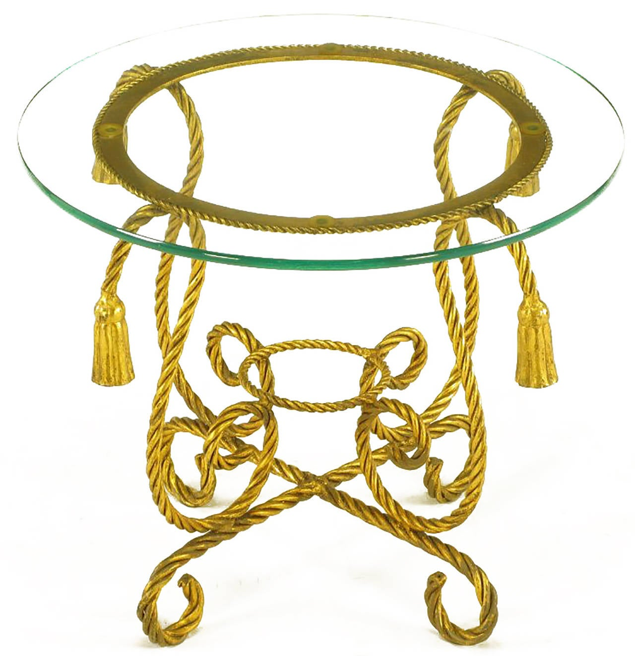Pair of small round tables, or gueridons, with a frame made of gilt iron braided to look like rope. 20
