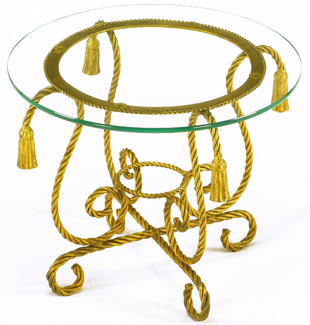 Pair of Italian Gilt Iron Rope Tables with Tassel Ornamentation In Excellent Condition For Sale In Chicago, IL