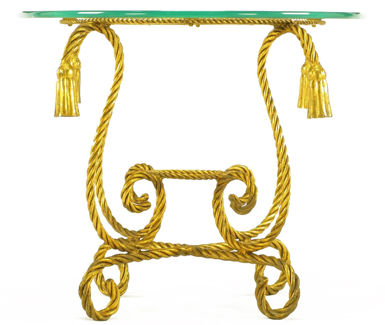 Mid-20th Century Pair of Italian Gilt Iron Rope Tables with Tassel Ornamentation For Sale