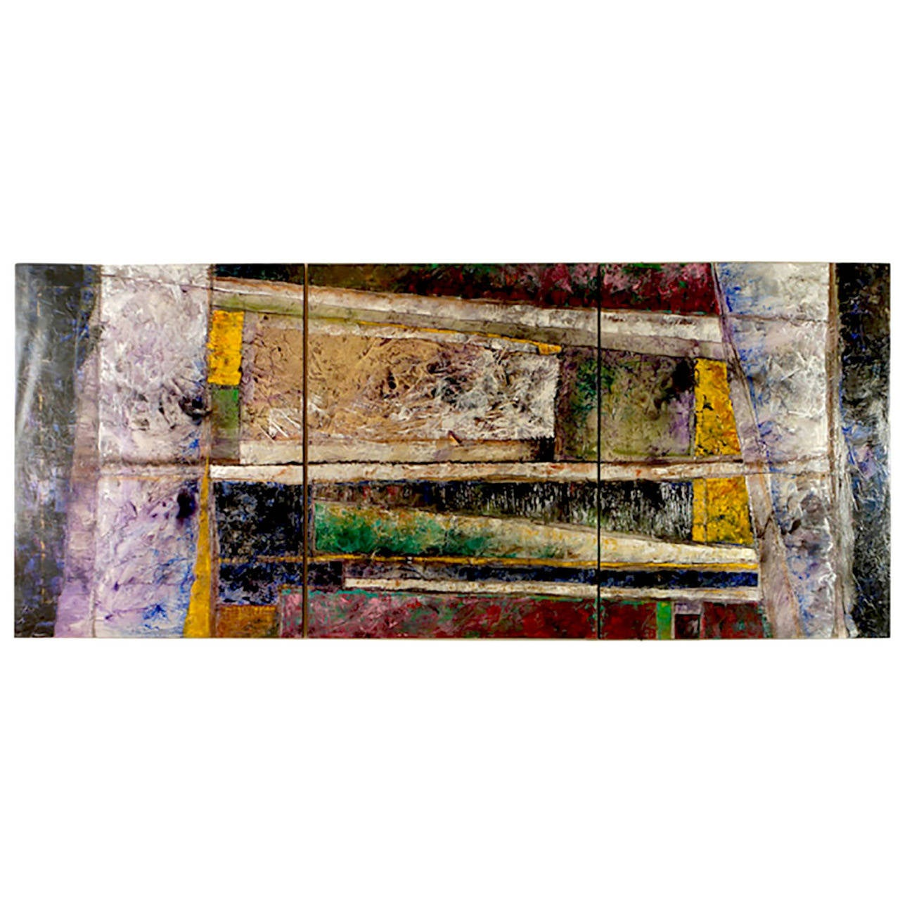 Juan Carlos Macias Abstract Triptych Painting For Sale