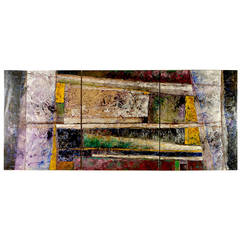 Juan Carlos Macias Abstract Triptych Painting