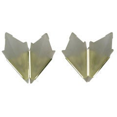 Art Deco Style Brass & Frosted Glass Slip Shade Sconces
