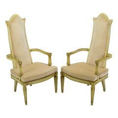 Pair Ivory Lacquer & Velvet Tall Back Arm Chairs