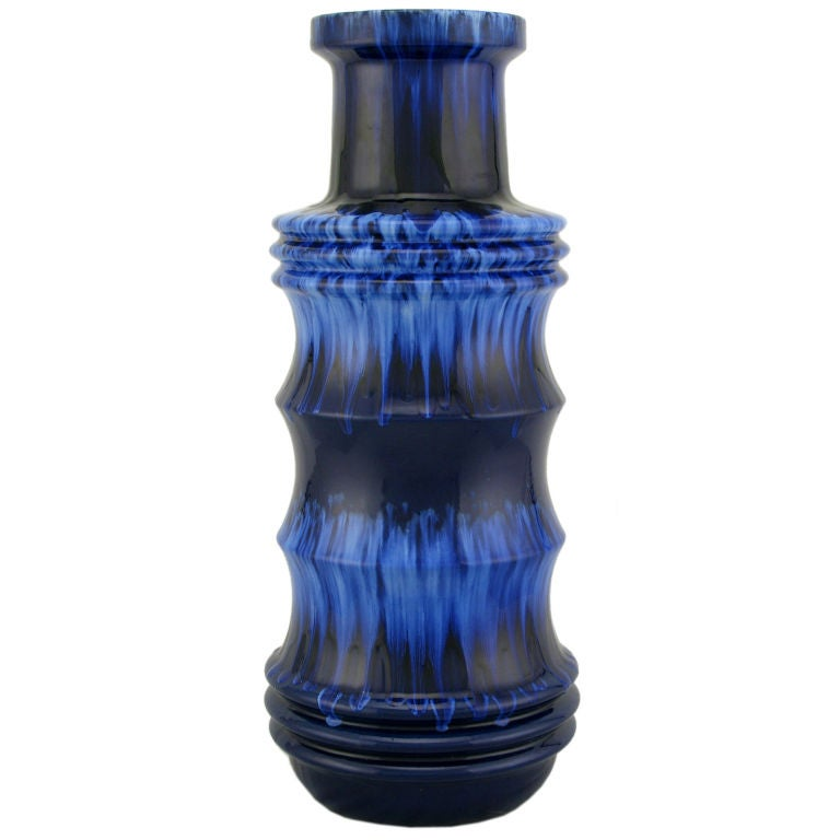 Scheurich West German Blue Drip Glaze Pottery Vase