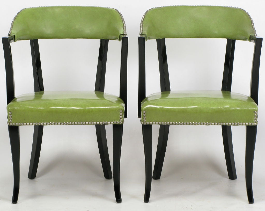 set four 1940s black lacquer and sage green art deco