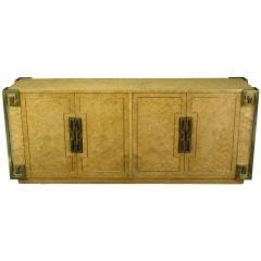 Mastercraft Amboyna Burl & Brass Greek Key Sideboard
