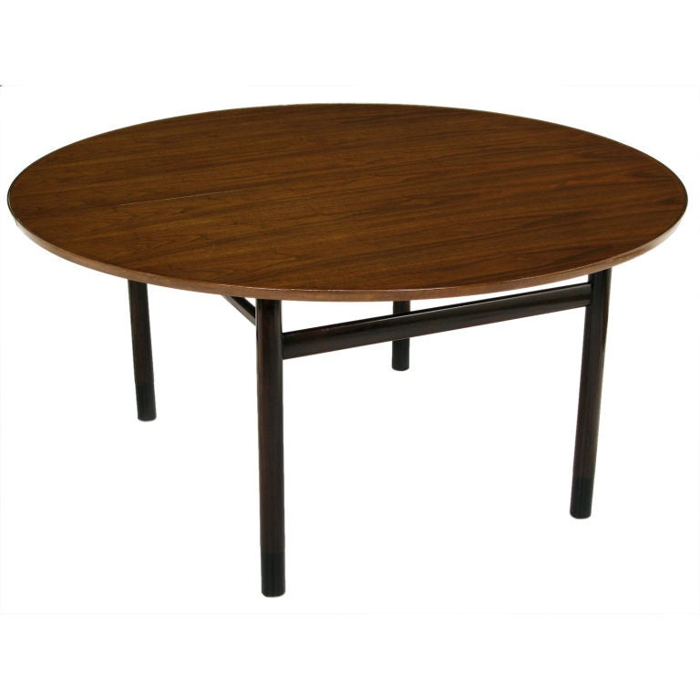 this edward wormley 60 round figured walnut dining table is no longer