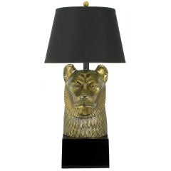 Chapman Table Lamp With Brass Head Of Lion Goddess Sekhmet