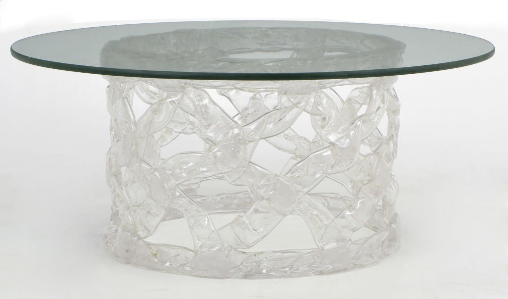 Round Glass And Reticulated Lucite Coffee Table 2