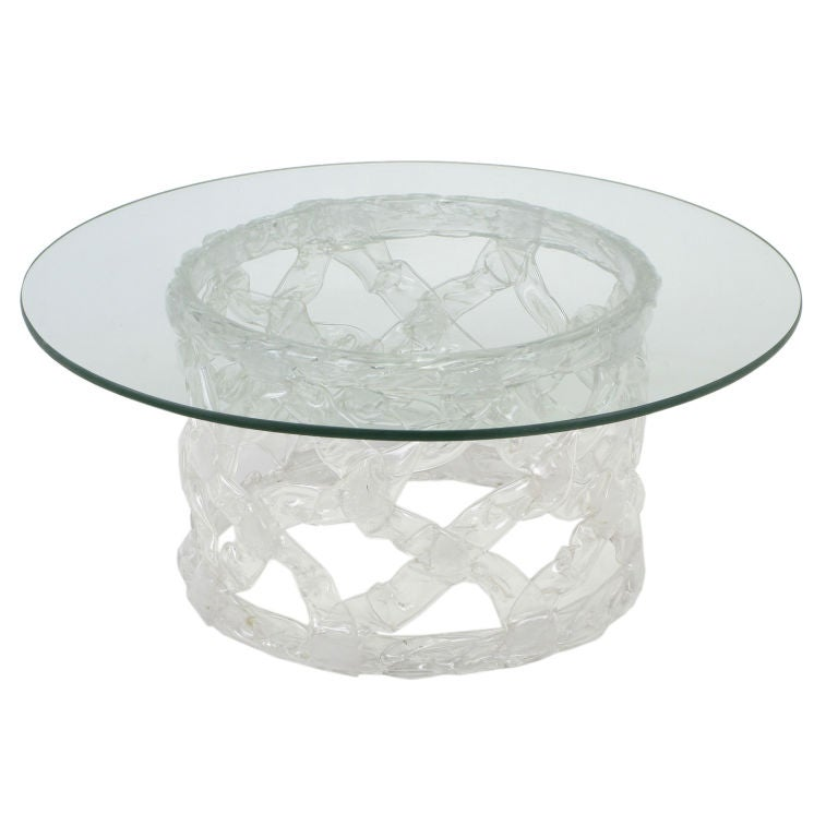 Round Glass And Reticulated Lucite Coffee Table At 1stdibs