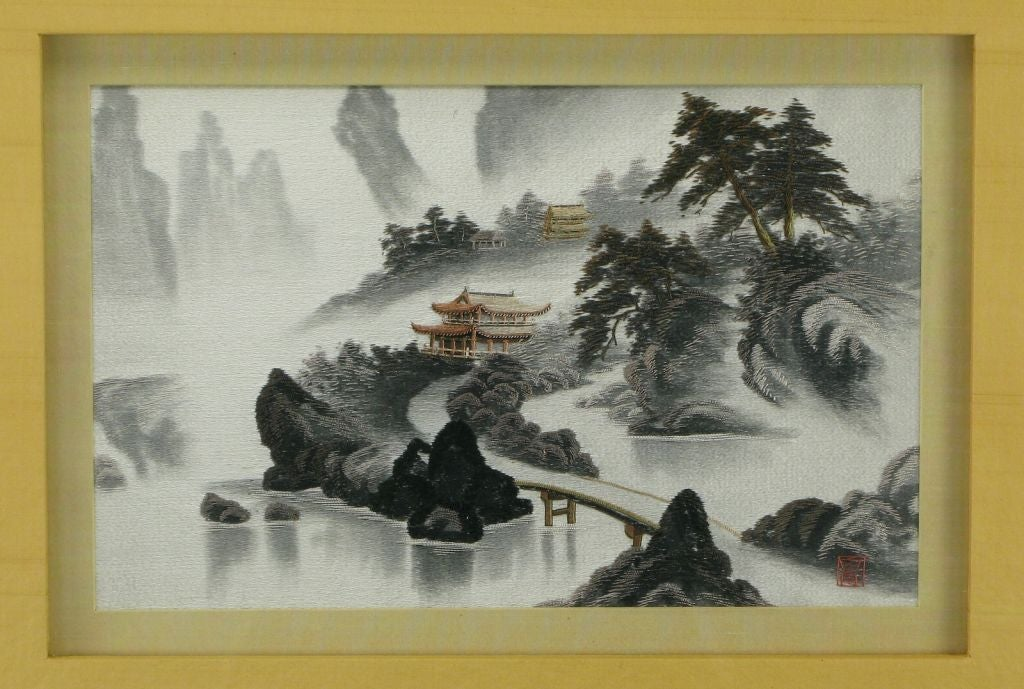 Pair Framed Japanese Silk Embroidered Landscapes At 1stdibs